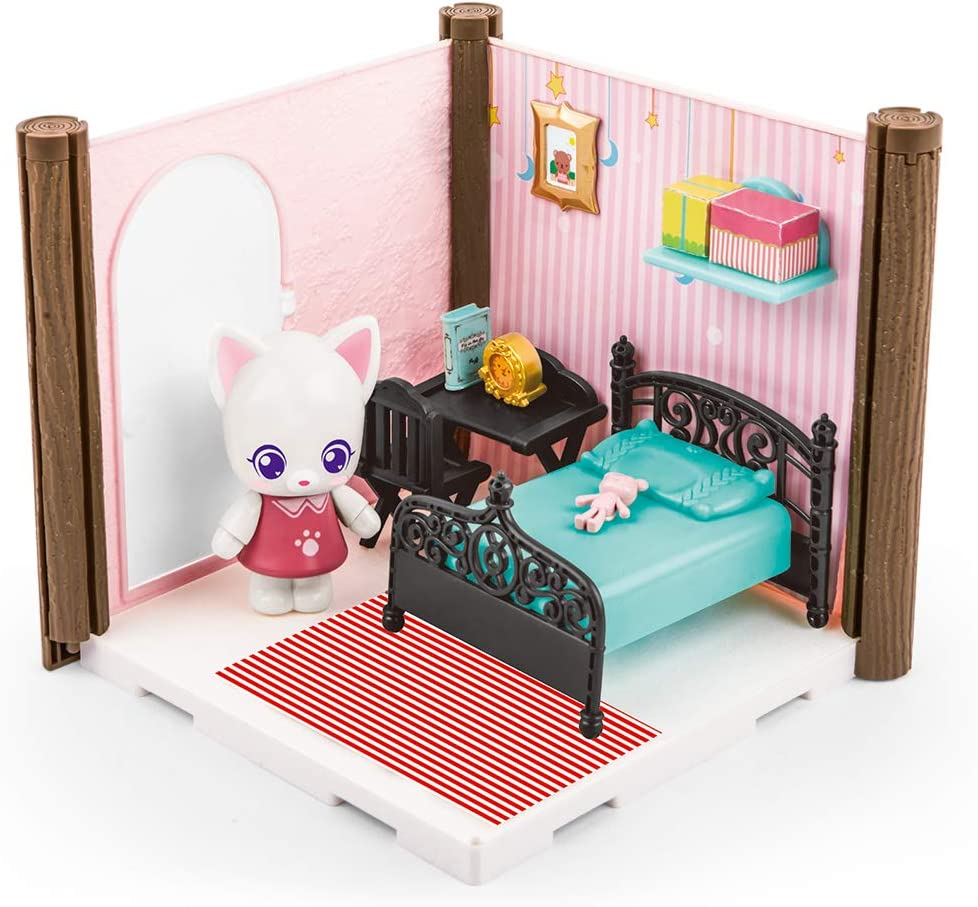 FULIM Mini Doll House Toy DIY Bedroom Set, Easy to Assemble Cat's Play House with Furniture Accessories Dollhouse, Ideal Gift for Children