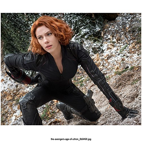 Avengers Age of Ultron, Black Widow Kneeling in Snowy Forest Background 8 X 10 Inch Photo