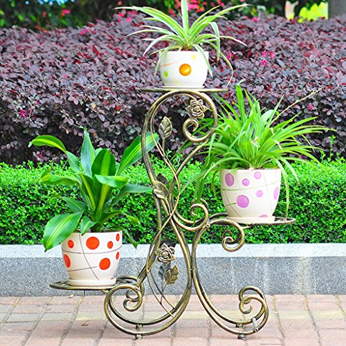 ZPMZ- Flower Rack Metal Multiple Colour Finished Product Plant Rack Flower Pot Rack Multi-Functional Metal Shelf Balcony Plants Display Rack (Color : Bronze)