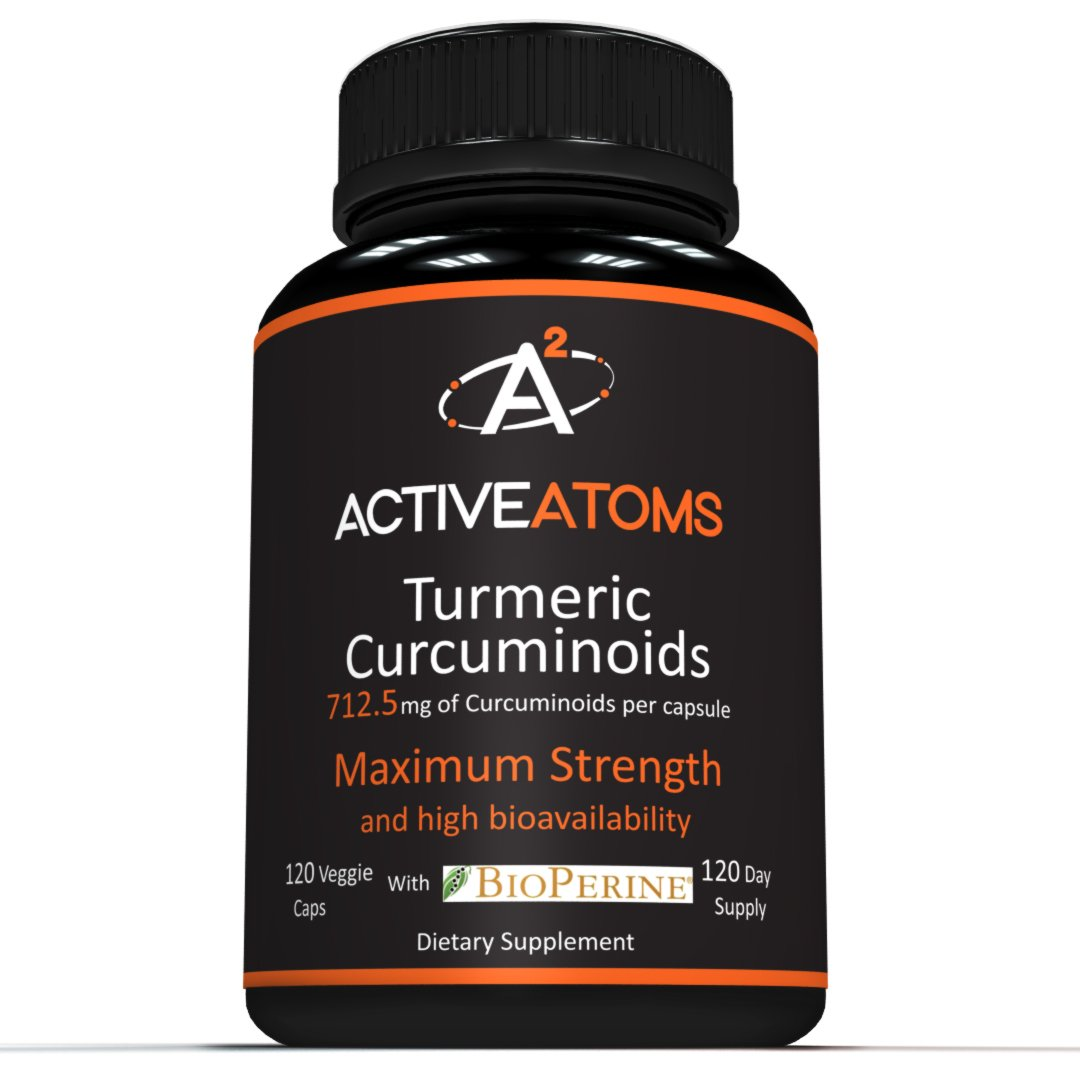 ACTIVE ATOMS - High Potency Turmeric Curcumin with Bioperine Black Pepper - Non-GMO, Max Strength, 4-month supply, Pain Relief, Anti-Inflammatory, 750 mg Turmeric Extract per Capsule -Turmeric extract