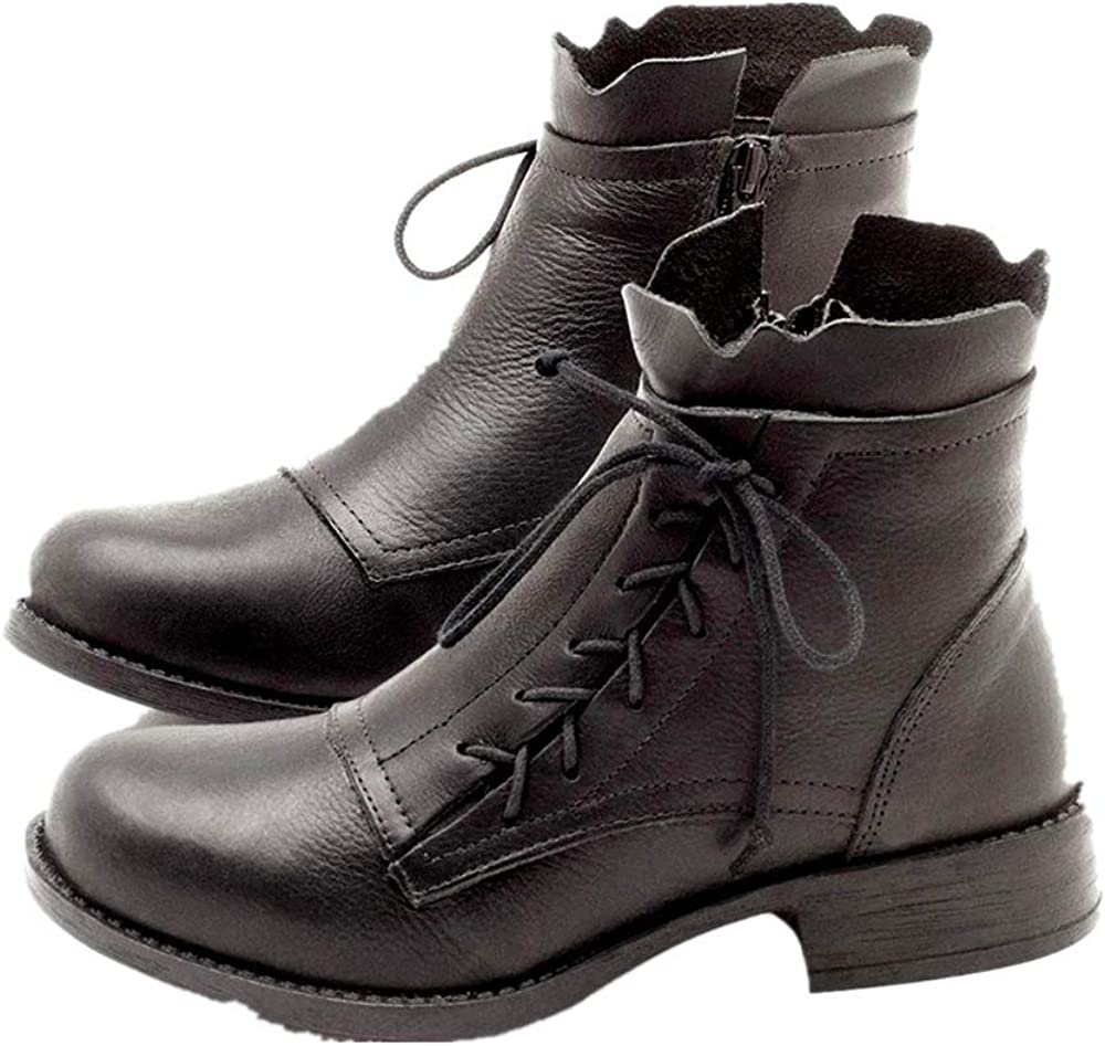 round toe Womens punk Patent Leather Casual Lace Up Flat Ankle Boots new