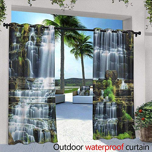 (LOVEEO Rainforest Outdoor Window Curtains Waterfall in The Middle of Tropical Jungle Natural Scenery Countryside Style Grommet Curtains for Bedroom 84