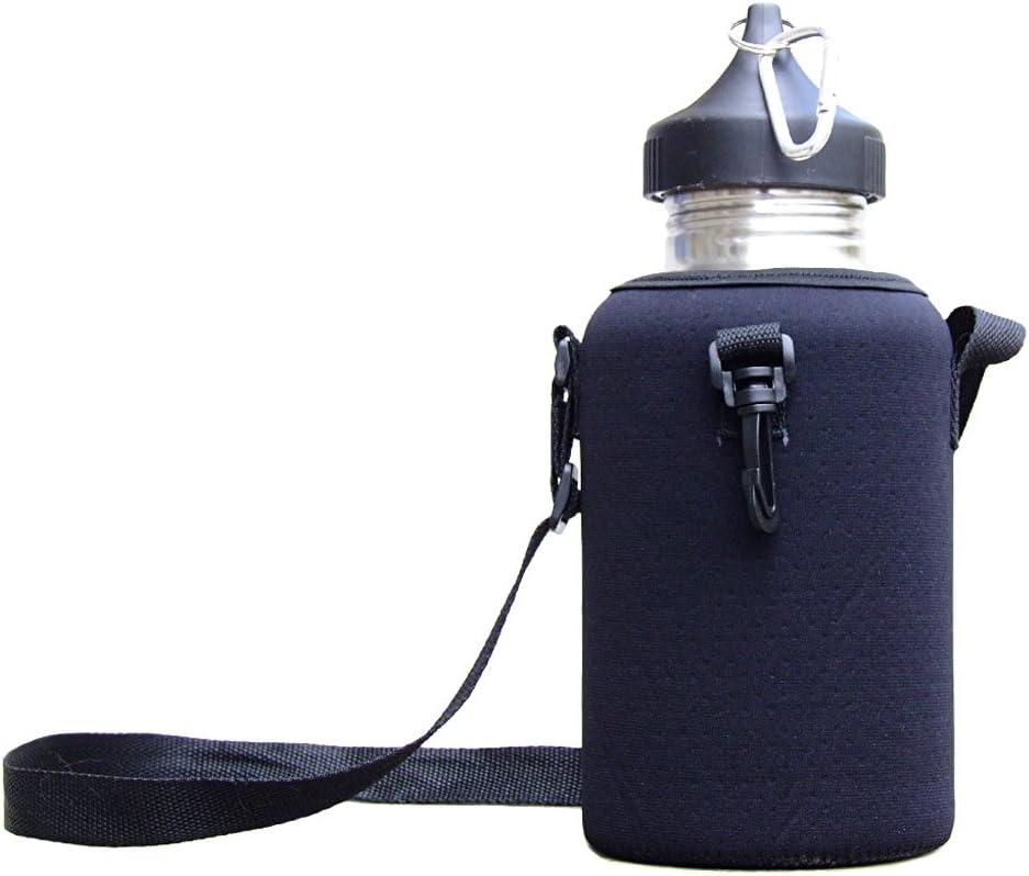 Negro Suave Funda Protector de Bolsa MonkeyJack 2L Acero Inoxidable Bebida Deportiva Botella de Agua con mosquet/ón