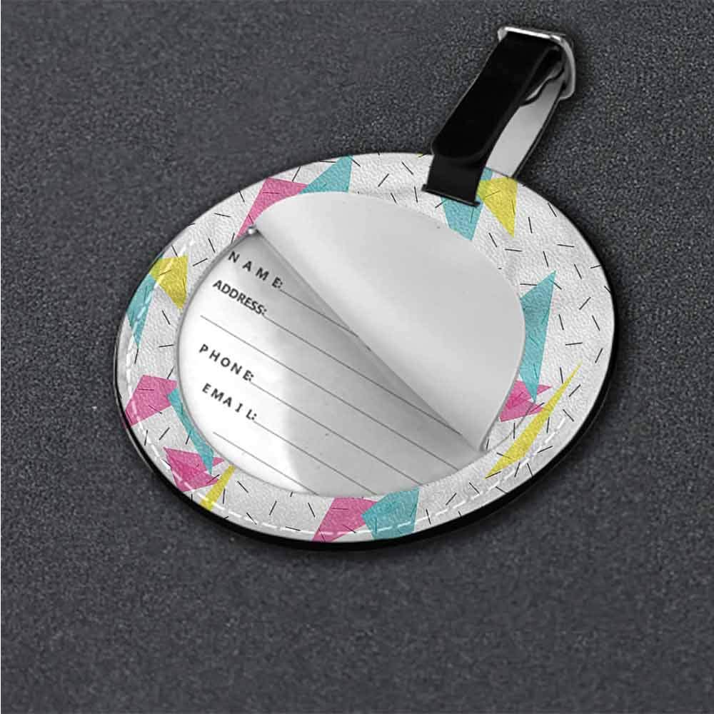 Id Tag Suitcase Carry Abstract,Memphis Style Forms Label Travel Accessories