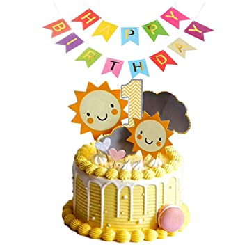 9555c4e830992 Sun Cloud 1st Birthday Cake Topper with Colorful Happy Birthday Banner for  Boy Girls Party Baby...