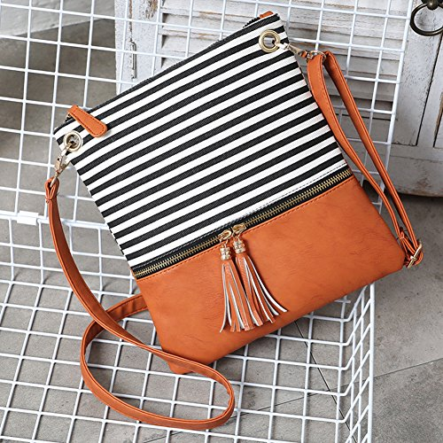 Crossbody Shoulder Bag,Messenger Bag Handbag with Double Zipper for Women Lady Girls by Ubags (Black Stripe) by Ubags (Image #2)
