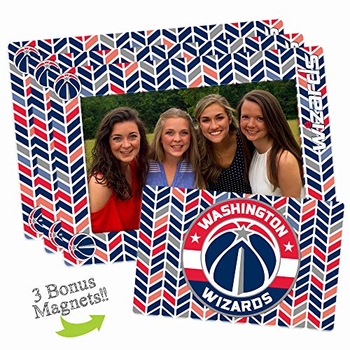 Worthy Promo NBA Washington Wizards Unisex Nbanba Magnetic Picture Frame 3-Pack, Blue, 3-Pack, 4-inch by 6-inch