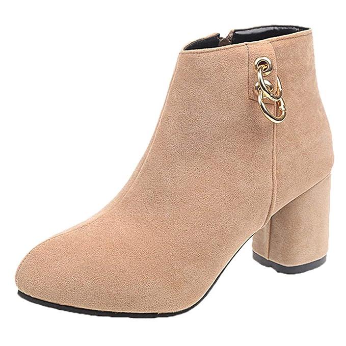❤ Botas Cortas para Mujer de tacón Alto, Zapatos de tacón Alto de Mujer con Punta Redonda Botas de Cremallera de Color sólido Boots Absolute: Amazon.es: ...