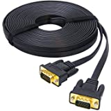 DTECH 10m Ultra Thin Flat Computer Monitor VGA Cable Long 32 Feet Male to Male 15 Pin Connector Standard SVGA Wire Black
