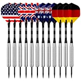 Sametop 12 Packs Steel Tip Darts Set 22 Grams with Different Style Flights, Aluminum Shafts, Nickel Silver Barrels and Dart Sharpener