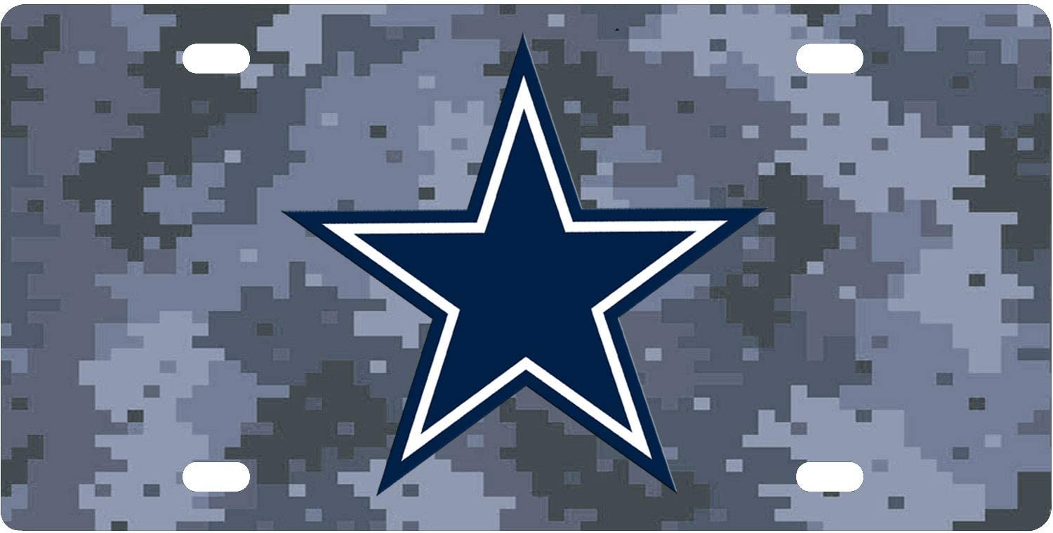 Amazon Com Bernie Gresham License Plate Cover Cowboys Blue Star Mosaic Camouflage Background License Plates Auto Car Tag Metal For Front Of Car License Plate Covers Sports Outdoors