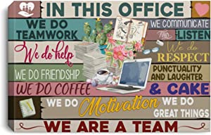 In This Office We Do Teamwork We Communicate And Listen We Are A Team Print Canvas Office Inspirational