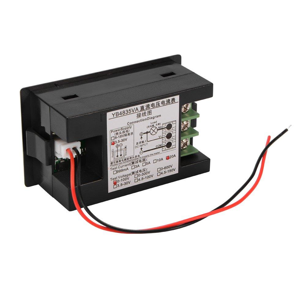 Kreema DC0-100V 20A Digital Voltmeter Amperemeter LED Strom Meter Amp Volt Tester Dual Display Panel