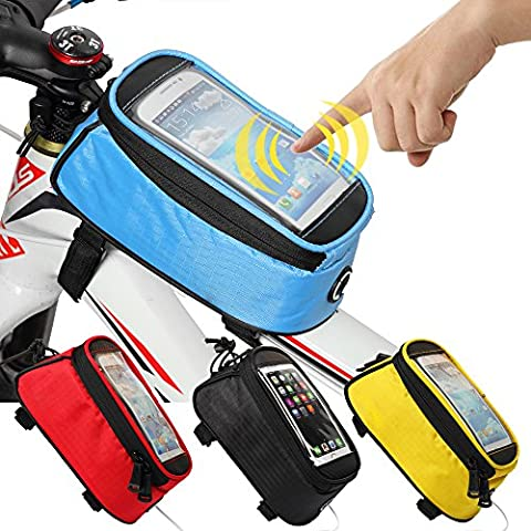 JOY COLORFUL Bicycle Bags Bicycle Front Tube Frame Cycling Packages 4.2,4.8,5.5 inches Touch Screen Mobile Phone Bags Professional Bicycle Accessories (Blue, - Schwinn Bike Accessories