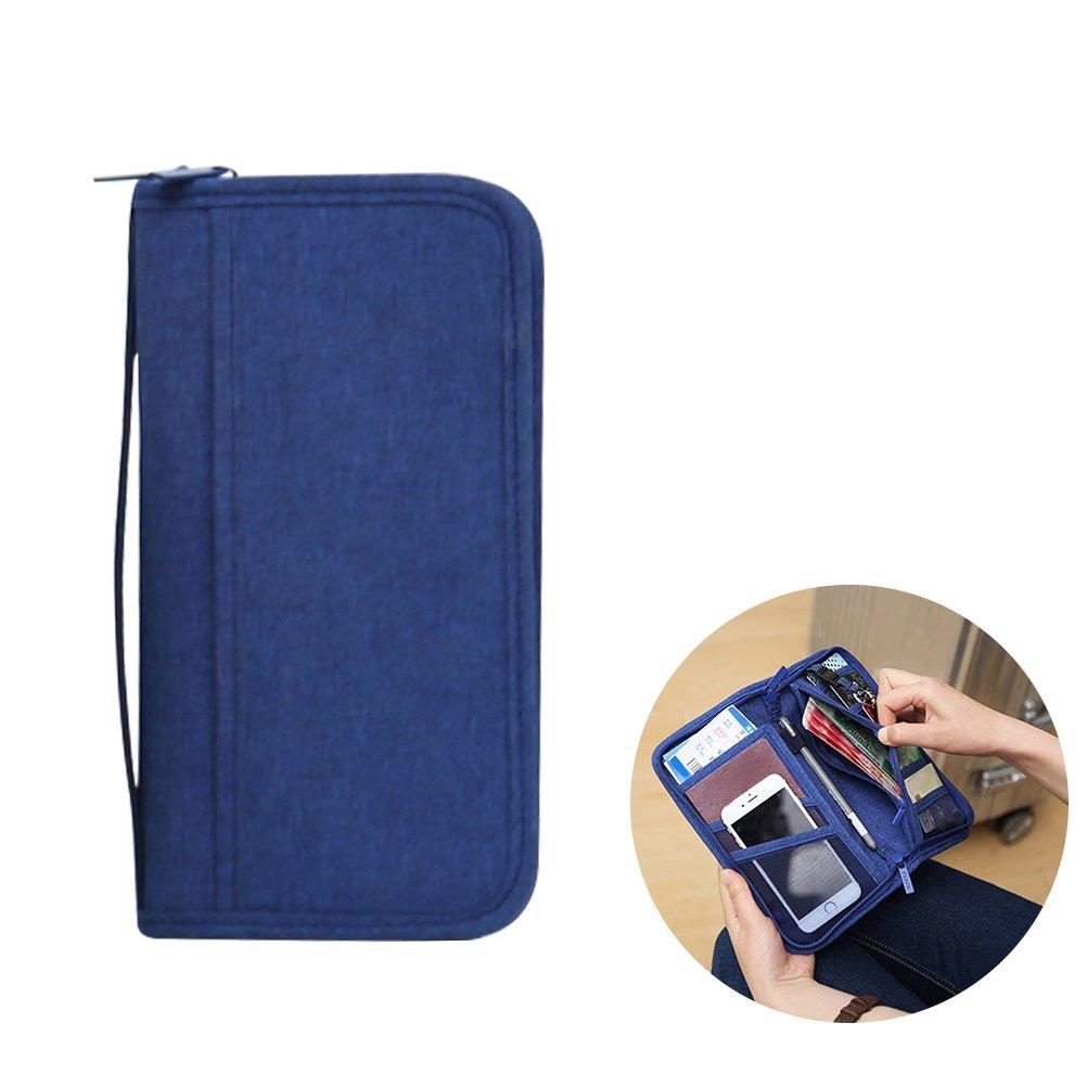 Blue WINOMO Travel Passport Wallet Credit Card ID Documents Zipper Organizer Case Bag