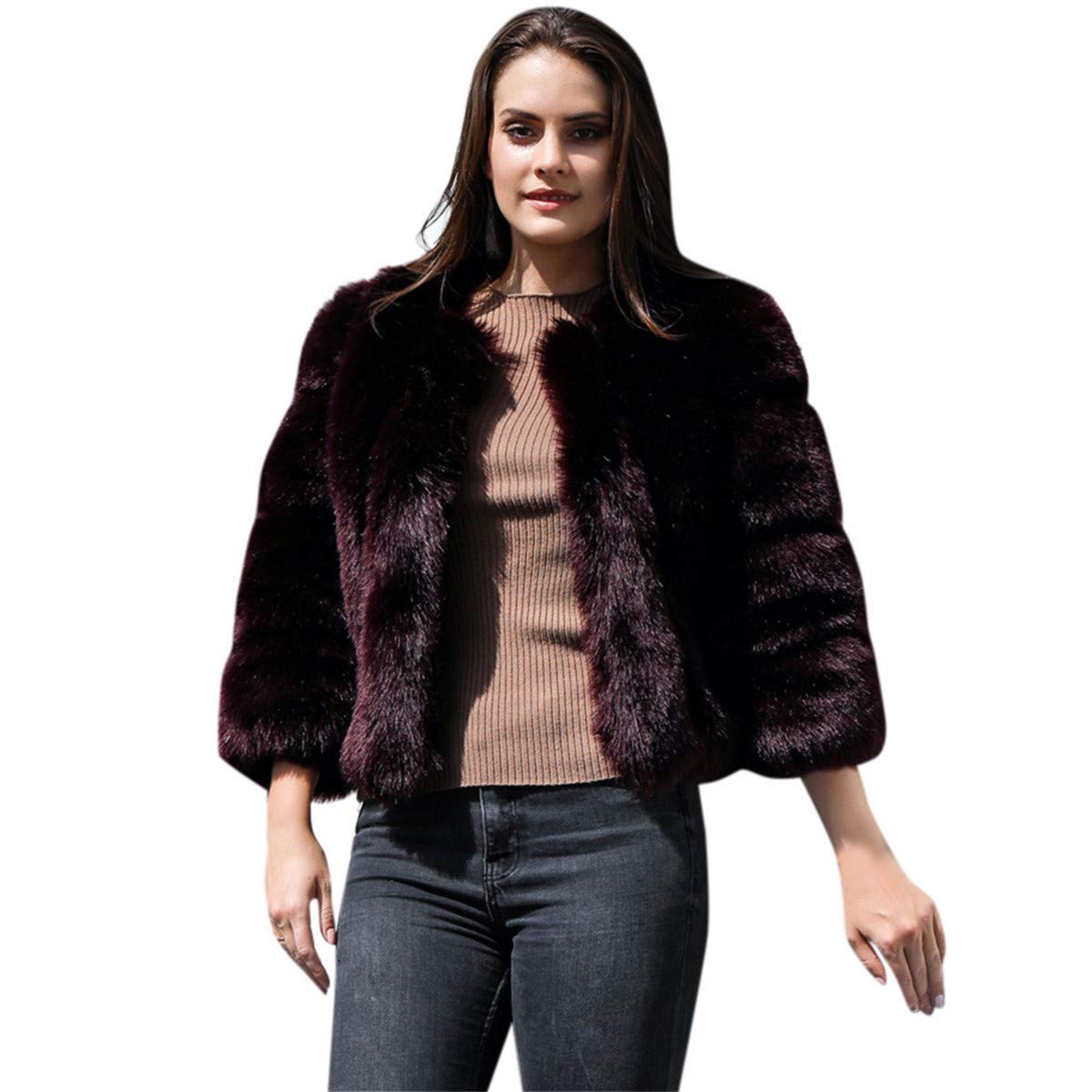 Thenxin Women's Faux Fur Cardigan Outerwear Vintage Fluffy Fuzzy Cropped Jacket Coat(Brown,M) by Thenxin