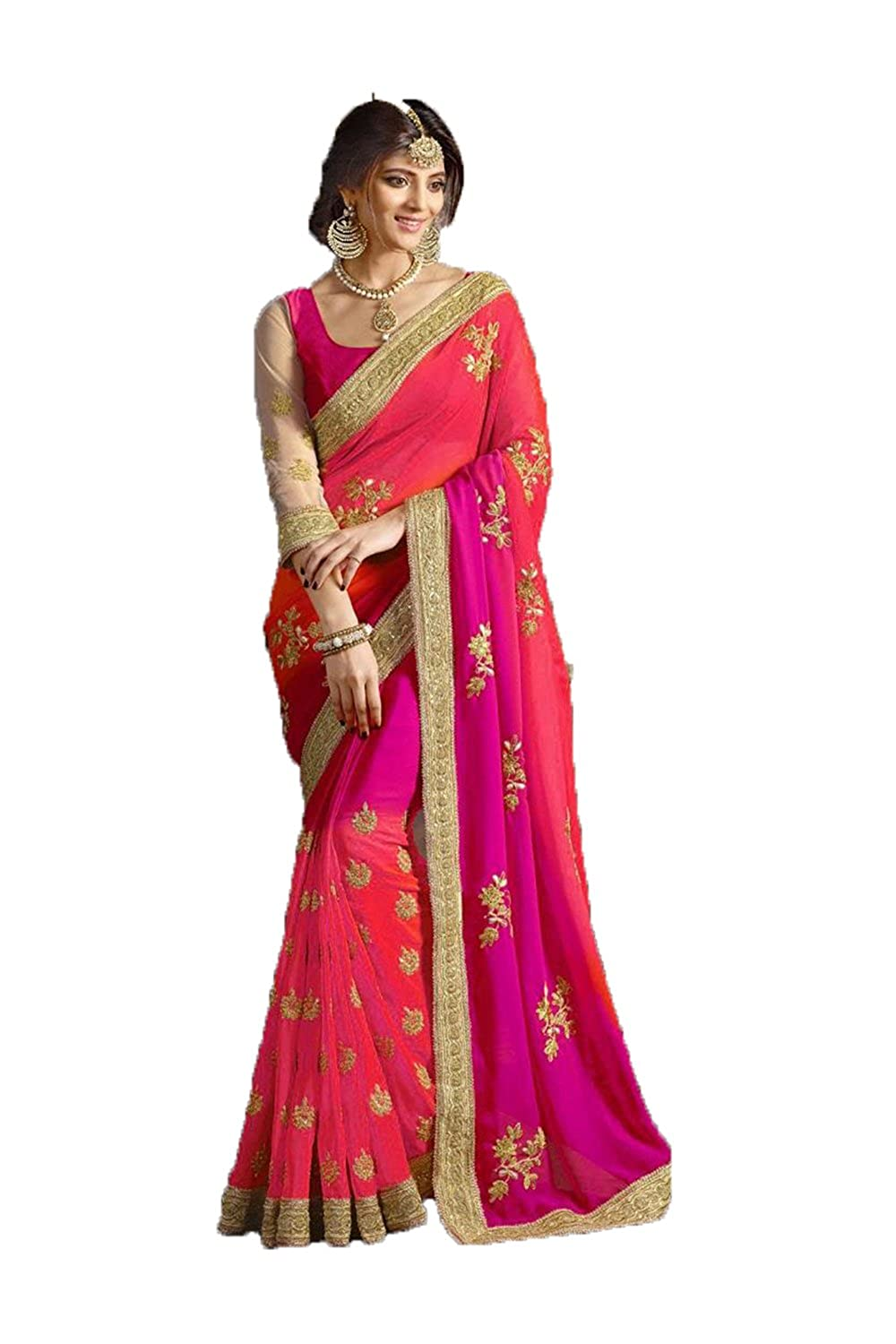FourCorners2013 Indian Women Designer Party wear Purple Androse Pink Color Saree T6255