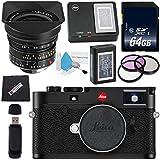 Leica M10 Digital Rangefinder Camera (Black) + Leica Super-Elmar-M 18mm f/3.8 ASPH. Lens + 77mm 3 Piece Filter Kit + 64GB SDXC Card + Card Reader + MicroFiber Cloth Bundle