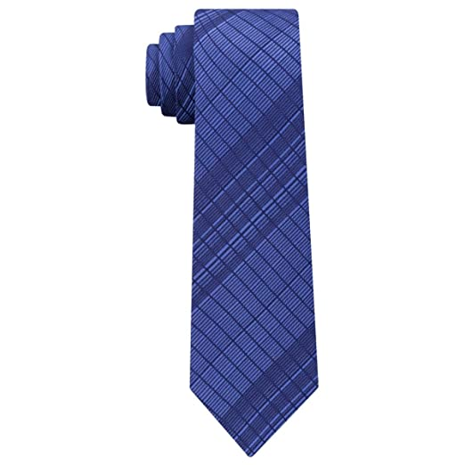 db4d687ba140 Calvin Klein Mens Hi Grade Grid Silk Printed Neck Tie Navy O/S at Amazon  Men's Clothing store: