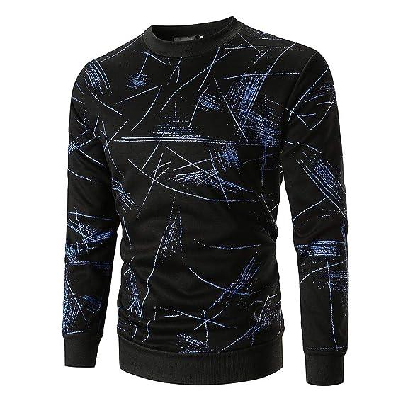 Cebbay Camisa Manga Larga Hombre Camiseta Polo Camiseta Sudadera Top Delgado Estampado Liquidación (EU Size