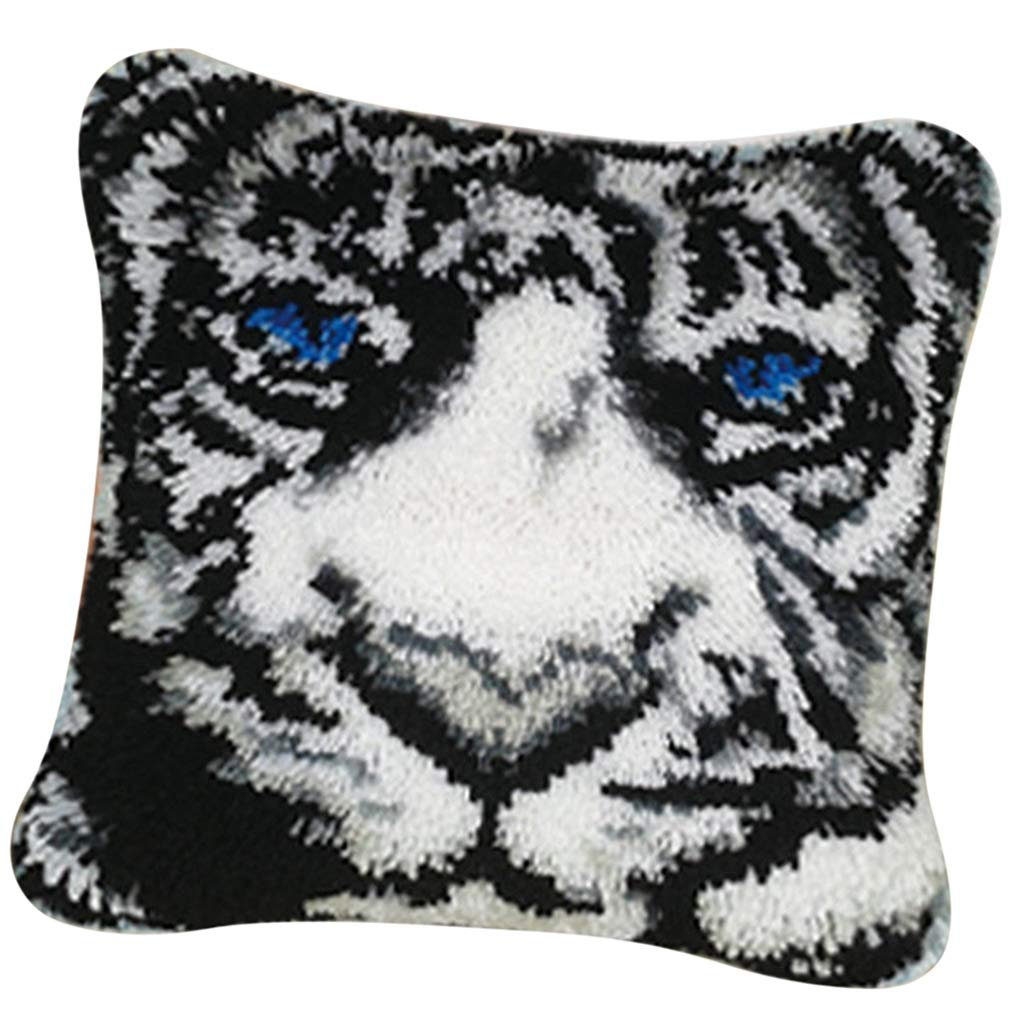 kesoto Animals White Tiger Latch Hook Rug Kit for Kids Children DIY Needlework Yarn Cushion Embroidery Crafts