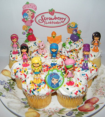 Strawberry Shortcake Deluxe Mini Cake Toppers Cupcake Decorations Set of 13 with 12 Figures and a Toyring featuring Orange Blossom, Blueberry Muffin, Custard the Cat and ()