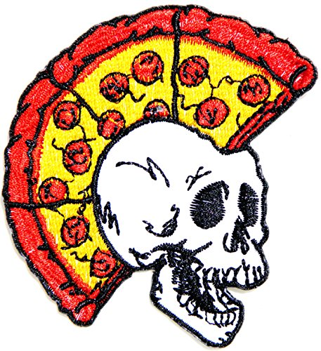 Funny Skull Monster Heavy Metal Pizza Hut Cooking Chef Kid Baby Jacket T-shirt Patch Sew Iron on Embroidered Applique Sign Badge Costum - Metal Hut