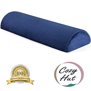 Cozy Hut Memory Foam Semi Roll Pillow Half Moon Bolster Knee Support Pillow for Side, Back, Stomach Sleepers for Sciatica Relief, Back Pain, Leg Pain with Washable Cover - 24''L X 8''W X 4''H