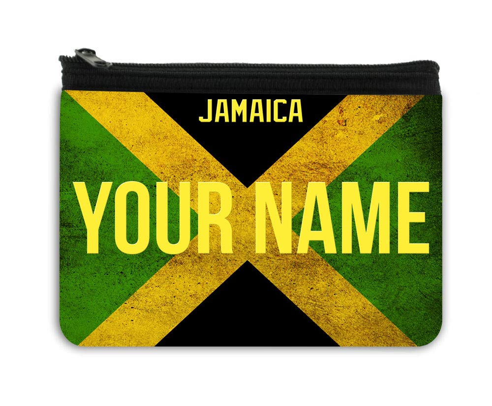 BRGiftShop Personalized Custom Name License Jamaica Country Flag Plate Neoprene Coin Purse