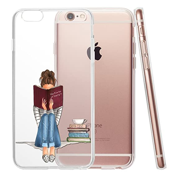1c643824f Girl Reading Book Drawing Clear Phone Case for iPhone 6 Plus & Iphone 6s  Plus 5.5