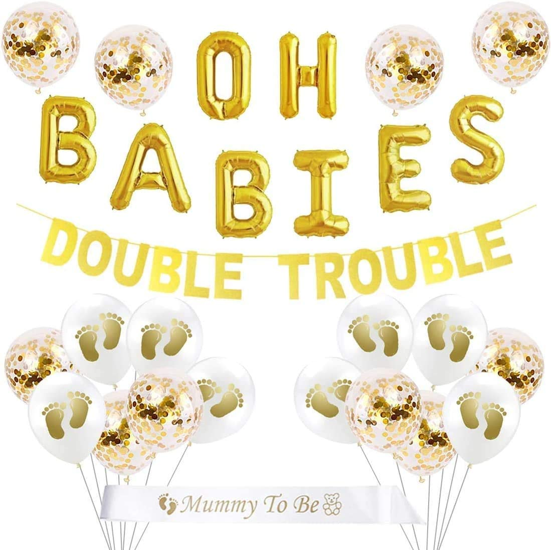 Twins Baby Shower Decorations Set Gold Theme, Double Trouble Banner, OH BABIES Balloons, Mummy To Be Sash for Babies Party Supplies