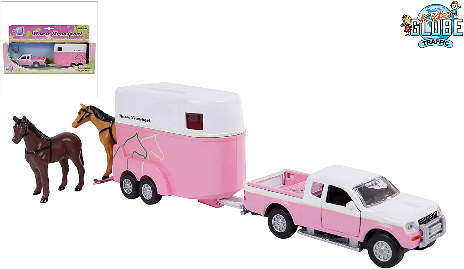 Van Manen Kids Globe Traffic Set con Juguete Auto y Caballos Colgante, Juguete, Color Rosa/Blanco, para Chica, retráctil Motor, 520124