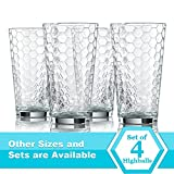 Highball Drinking Glasses, Set of 4 - Clear Glass Elegant Honeycomb Design, 17 Oz. (BPA Free and Dishwasher Safe)