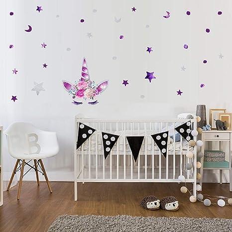 Cartoon Cute Unicorns Star Heart Wall Stickers Wallpaper Diy Vinyl Home Wall Decals Kids Living Room Bedroom Girls Room Decor F
