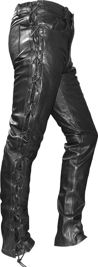 Nero Roleff Racewear Pantaloni in Pelle con Allacciatura Laterale 46