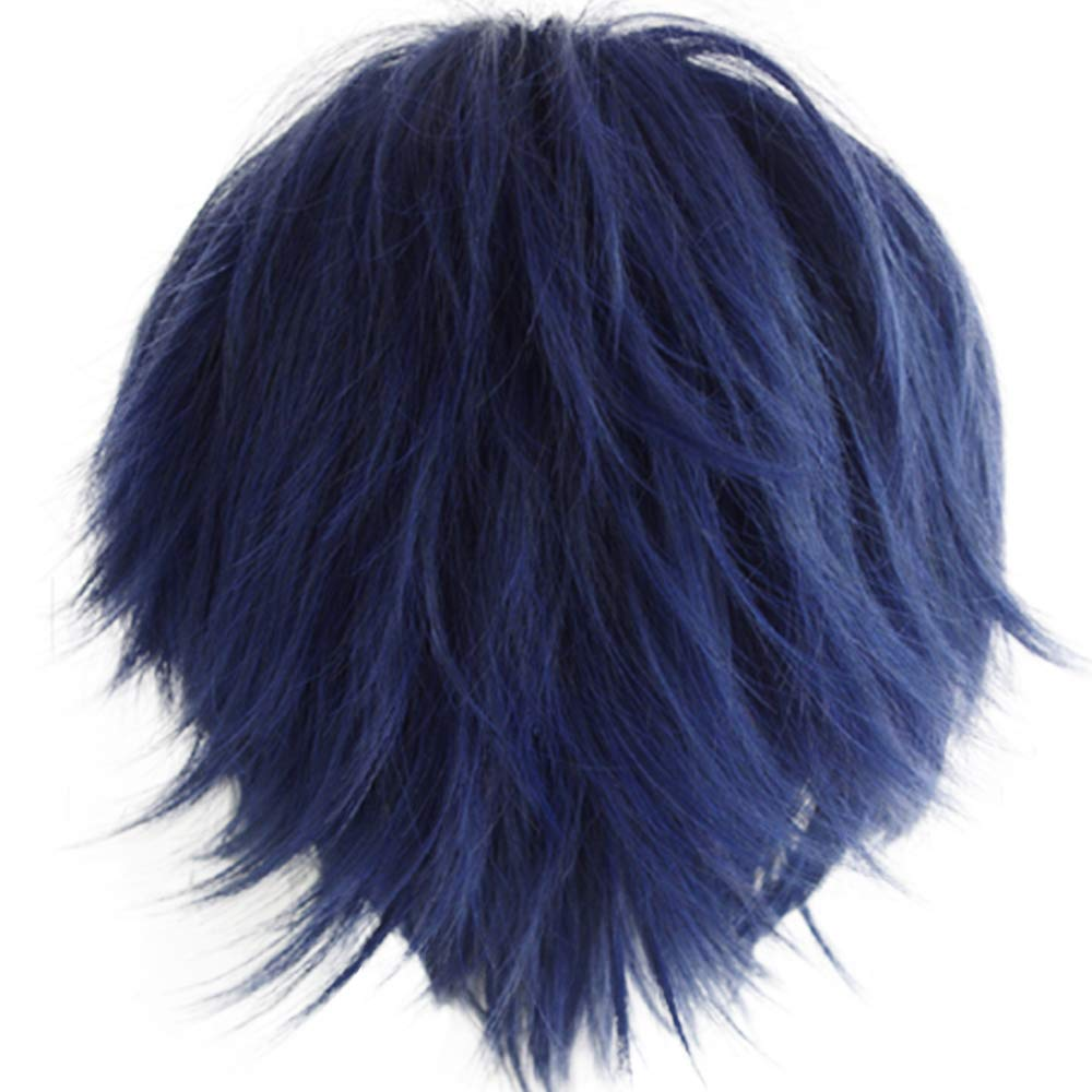 Short Fashion Spiky Layered Anime Cosplay Wig Halloween Christmas Carnival Dress Up Pretend Play Party Wig Gift+Cap, Dark Blue, One Size