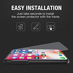 iPhone X Screen Protector(2 -Pack, Clear), ALLEASA Premium 0.25mm Ultra-thin HD Full Coverage Film Tempered Glass Screen Protector with Easy Installation Frame [3D Touch] for Apple iPhone X /10 by ALLEASA