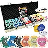 Poker Chip Set 500 - Prestige Poker Casino Quality - 12 Gram Chips with Silver Aluminum case High Limit Tournament Set with Free Texas Holdem Calculator