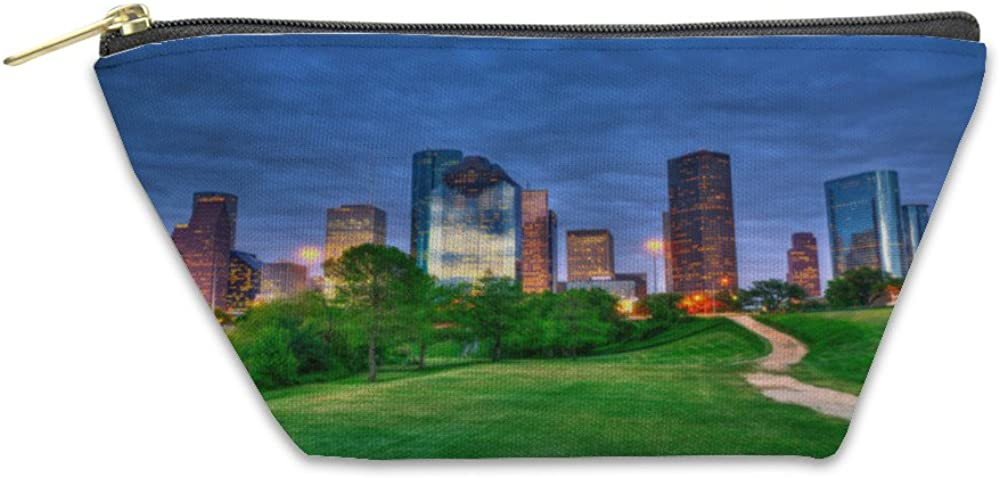 5640814GN Houston Texas Modern Skyline At Sunset Twilight From Park Gear New Accessory Zipper Pouch