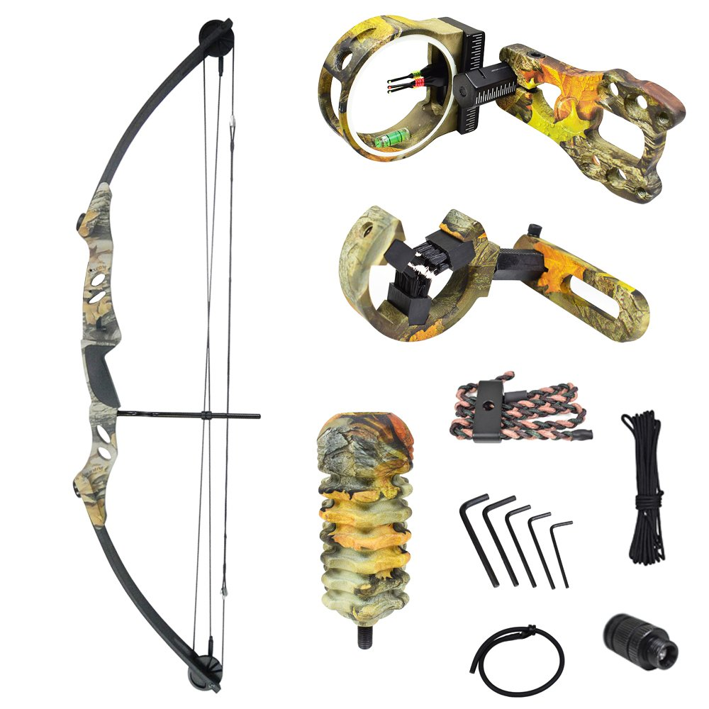 iGlow 55 lb God's Country Late Season Camouflage Camo Archery Hunting Compound Bow with Premium Kit 50 40 lbs Crossbow by iGlow