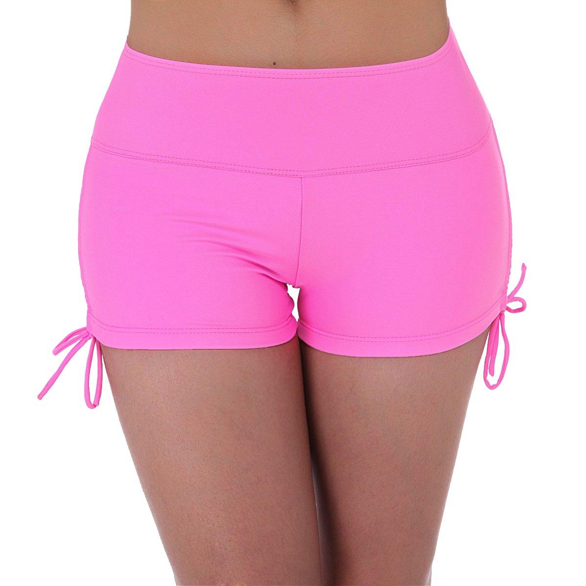 UNOW Women's Sporty Adjustable Boy Leg Wide Waistband Fully Lined Bikini Bottom Beach Briefs Tankinis Board Shorts(Pink,S)