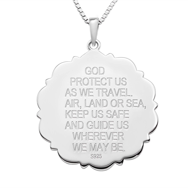 Colgante religioso Antiguo talism/án Protector para Hombres Mujeres FJ San Crist/óbal Collar de Plata de Ley 925