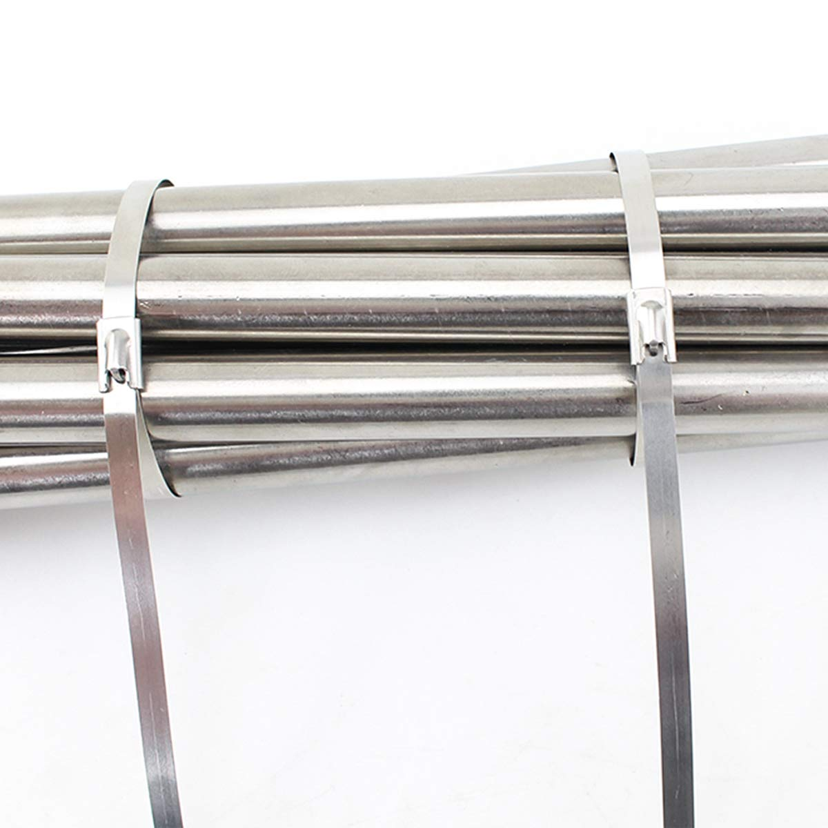 SS304 Stainless Steel Zip Ties Metal Cable Ties Exhaust Wrap Coated Locking Cable Zip Ties 316 Marine Grade Metal Tie Wraps NATUCE 100PCS 4.6 * 300mm Premium Stainless Steel Cable Ties