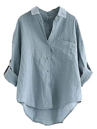 ab612083f Abetteric Women Pocket Linen Batwing Oversize Lounge Tops Tee Shirt Blue S
