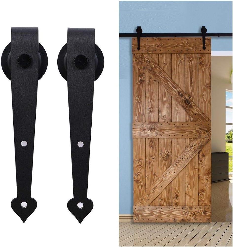 4FT//122CM Herraje para Puerta Corredera Kit de Accesorios para Puertas Correderas Juego de Piezas,Forma coraz/ón,negro