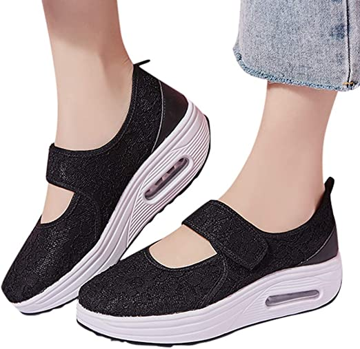 : Women Platform Wedge Loafers Slip On Lace