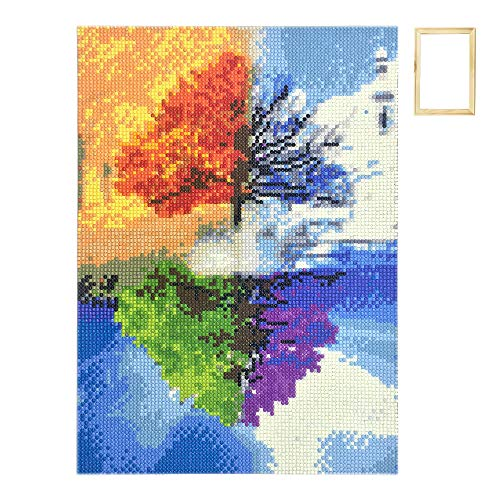 ufengke Wooden Frame Four Seasons Tree 5D Art Diamond Painting Kits DIY Full Drill Diamond Embroidery Cross Stitch Sets for Beginners Craft - Folk Picture Frame Art