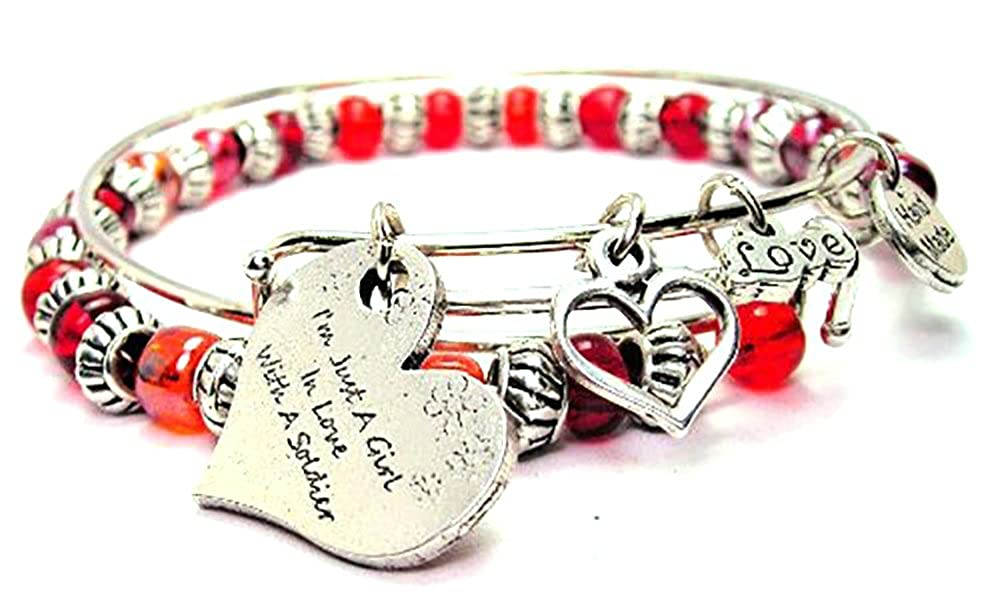 Im Just a Girl in Love with a Soldier Red Beaded Ajustable Bangle Charm Bracelet