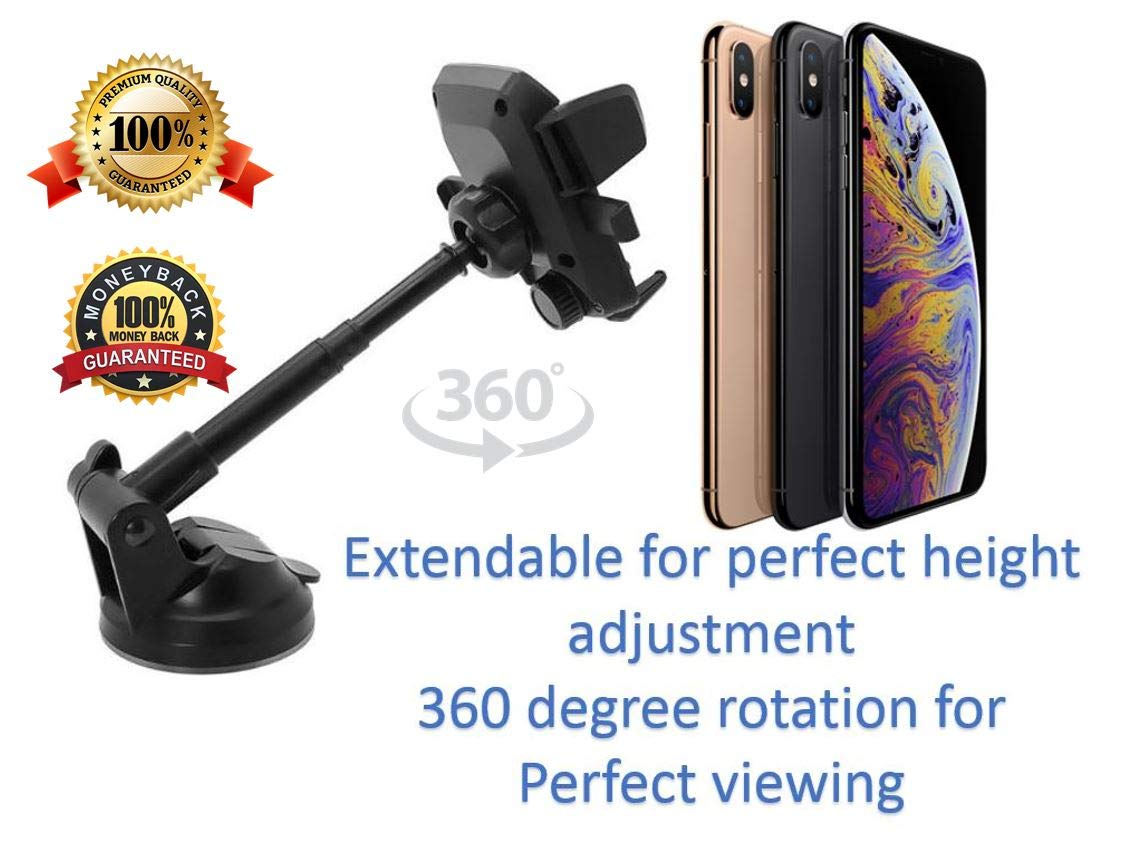 Easy One Touch Universal Car Mount Smartphone Holder | Premium Quality for Stability and Elegance Mounted on Dashboard or Windshield | 360 Degree Rotation & Extendable for Height Adjustment by CPK Creations