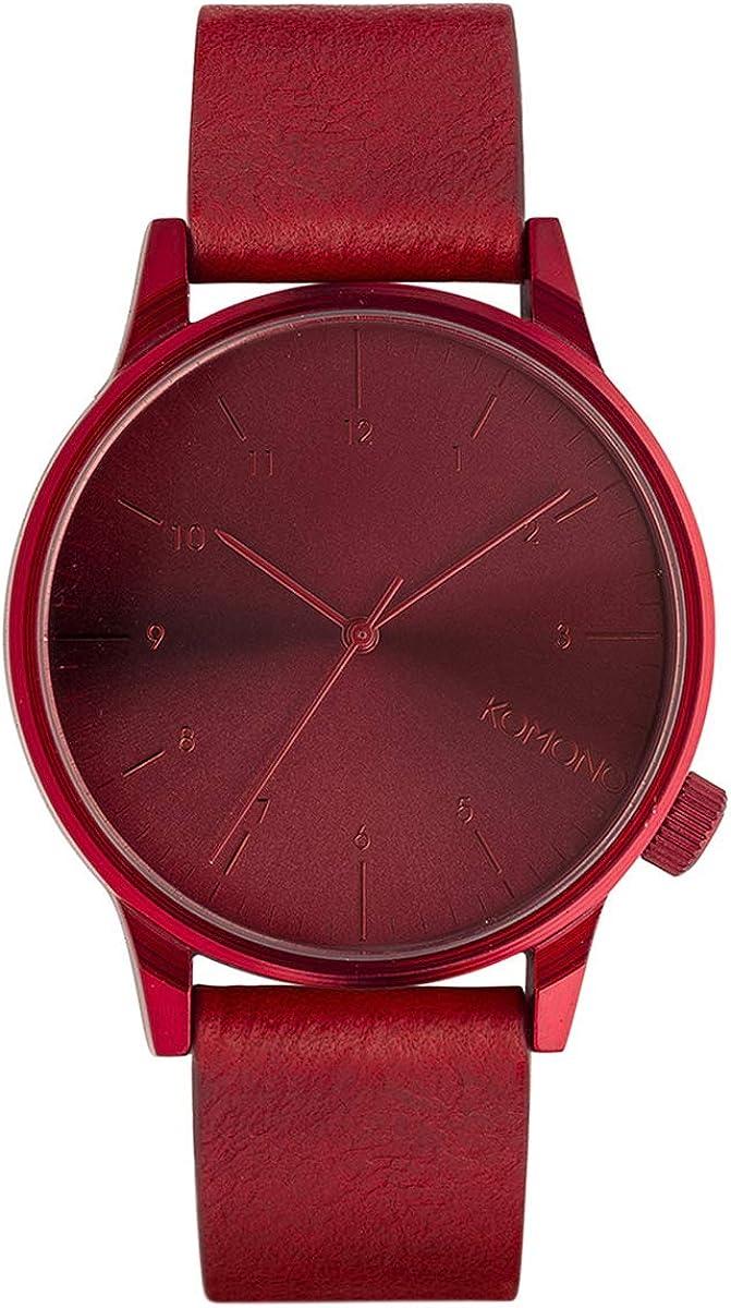 KOMONO Winston Stainless Steel Japanese-Quartz Watch with Leather Strap, red, 20 Model KOM-W2267